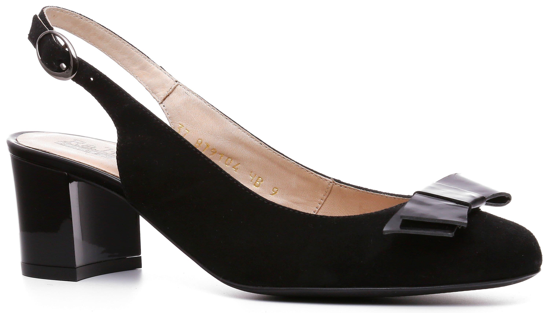 Ralf Ringer Business 879104ЧВ Весна-Лето 2017Туфли открытые<br>Черные велюровые туфли Rimma с открытой пяткой и изящным бантиком лакированной кожи на носке — восхитительное сочетание женственности и делового стиля. Строгие изысканные линии, прямоугольный, но не выглядящий грубым, каблук, способны соответствовать само...<br><br>Цвет: Черный<br>Размер RU: 38<br>Пол: Женский<br>Возраст: Взрослый<br>Сезон: Лето<br>Материал верха: Велюр<br>Материал подкладки: Натуральная кожа<br>Материал подошвы: Каблук