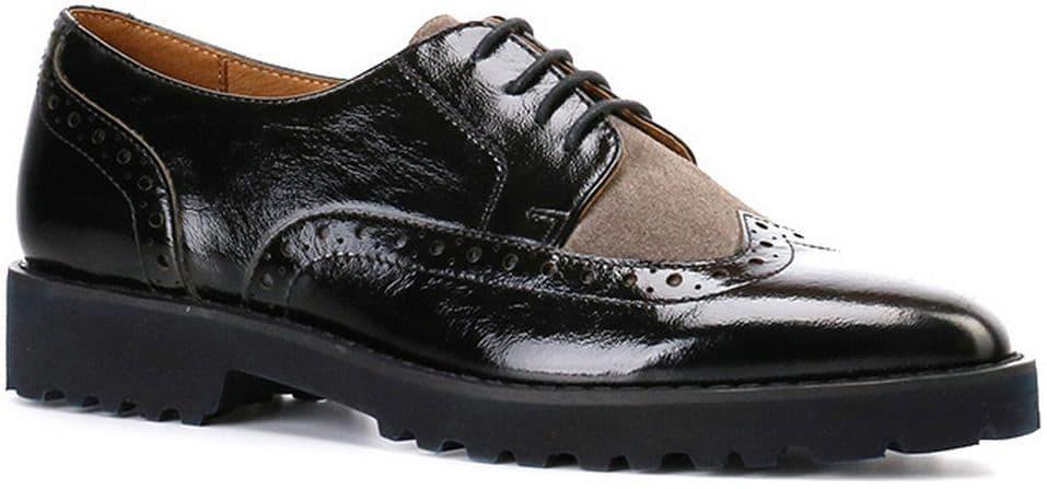 Полуботинки Ralf RingerПолуботинки<br>Женская обувь в мужском стиле на пике популярности! Броги RUNA отлично дополнят как деловой классический, так и повседневный образ. Стильное сочетание фактур кожи делает пару оригинальной. Стелька и подкладка из натуральной кожи обеспечат Вашим ногам комфорт в течение всего дня.<br><br>Наименование: Ralf Ringer Modern 916103ЧС Осень-Зима 2016-17<br>Цвет: Черно-серый<br>Размер RU: 41<br>vendorCode: None<br>Пол: Женский<br>Возраст: Взрослый<br>Сезон: Деми<br>Материал верха: Наплак<br>Материал подкладки: Натуральная кожа<br>Материал подошвы: ПУ