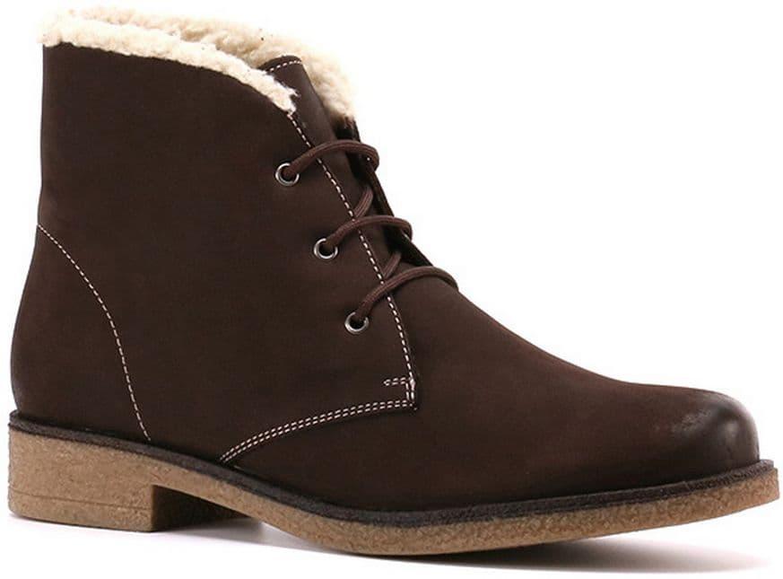 Ботинки Ralf RingerБотинки<br>Элегантные ботинки на шнуровке для женщин. Темно-коричневый верх из нубука, обрамленный белой строчкой, великолепно гармонирует со светлой подошвой. Дополнительной изысканности ботинкам придает белоснежный мех. Он согревает ноги, позволяя не чувствовать им холода. Пара идеально подходит для поздней осени и зимы.<br><br>Наименование: Ralf Ringer Weekend 945204ТКЧ Осень-Зима 2016-17<br>Цвет: Коричневый<br>Размер RU: 36<br>vendorCode: None<br>Пол: Женский<br>Возраст: Взрослый<br>Сезон: Зима<br>Материал верха: Нубук<br>Материал подкладки: Мех (шерсть)<br>Материал подошвы: ТЭП